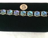 Vintage Blue Morpho Butterfly Wing Bracelet...Tropical Beach Wedding...Bridesmaids Gift  #3
