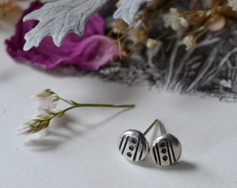 Line Dot Silver Studs- made to order