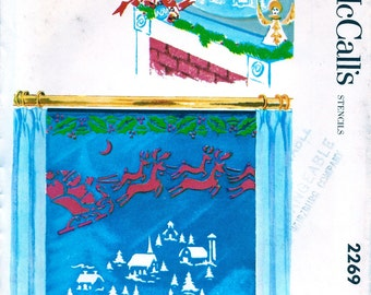 SANTA and REINDEER Christmas Stencils * 1950s UNCUT Vintage MCall's  Pattern 2269 to Decorate Mirrors and Windows