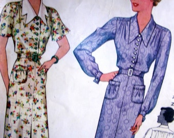 1930s McCall Pattern 9144 //   Beautiful  Vintage Misses' Slim Dress w/ Gathers, and Sleeve Options   //  Bust 44