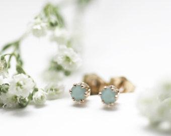 Mint Mini Stud Earrings. Tiny 14kt Gold Filled Studs. Small Mint Earrings. 14k Gold Fill Earrings. Mint Studs. Simple Earrings.