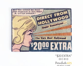 Original ACEO, Paper Collage, artist trading card, recycle paper, recycled comic book, actress gift, Hollywood humor, ooak art, funny art