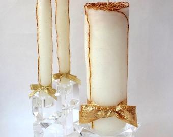 Black Tie Wedding Decor, Glitter Wedding Unity Candle Set, White & Gold Wedding, Formal Wedding, Beeswax Unity Candle, Gold Unity Candle