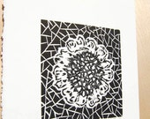 Wall Art, Black and White, Woodblock Print, Home Decor