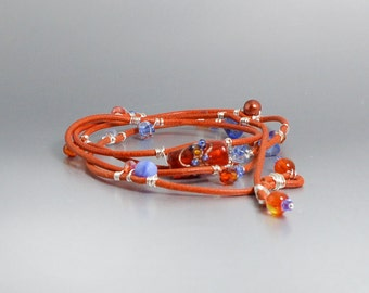 Orange and Blue Leather Wrap Bracelets Bracelet Boho Jewelry Bohemian Leather Wrap Bracelet With Beads