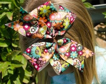 Hair Bow - Fall Paisley Print Pinwheel Hairbow