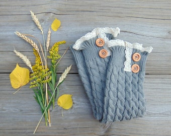 Leg Warmers with Lace and Wood Buttons, Knit Leg Warmers,  Light Grey Leg Warmers, Fall Boot Socks, Long Leg Warmers, Fall Fashion