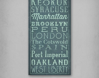 ANY COLOR Any Text Typography Graphic Bus Scroll Sign Stretched Canvas Wall Art - Ready-to-Hang -  Anniversary Engagement Wedding Birthday