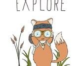 Woodland Nursery Art -- Ready to Explore -- Fox Adventure  -- Children Art --  Kids Wall Art