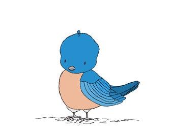 Woodland Nursery Art -- Little Blue Bird