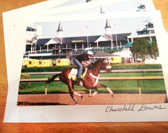 Churchill Downs Thoroughbred Handmade Postcards 5 x 7 inches set of 20 two designs