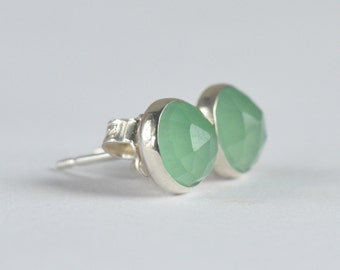 natural green chalcedony 6mm rose cut sterling silver stud earrings pair