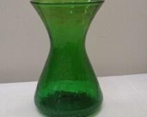 Vintage Hand Blown Emerald Green Crackle Vase