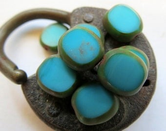 NEW Turquoise Candy Coins . Czech Picasso Glass Beads . 10 mm (10 beads)