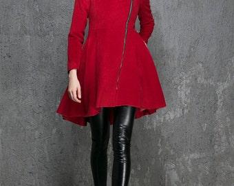 Wine red coat , wool coat, winter coat, womens coats, zipper coat, swing coat, warm coat, hooded coat, handmade coat (1355)