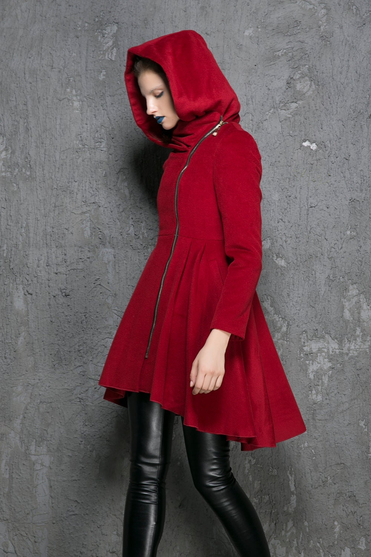 Wine red coat wool coat winter coat womens coats zipper
