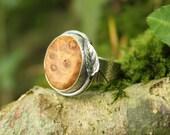 Oak leaf ring - sterling silver and burr oak wood - leaf print - real leaf - one of a kind