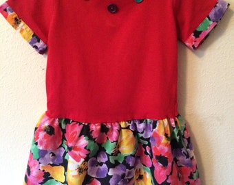 Vintage Girl's 80's Dress, Red, Floral, Short Sleeve by Kids & More (5)