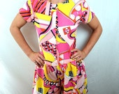 Vintage 70s 80s Liberty House Pucci Style Summer Psychedelic Romper