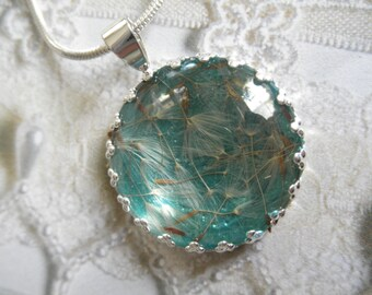Dandelion Seeds Atop Caribbean Blue Green Ocean Background Crown Pendant Beneath Glass-Nature's Art-Gifts Under 25-Symbolizes Happiness