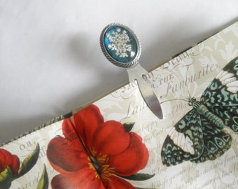 Real Pressed Flower Oxidized Bookmark For The Reader-Book Lover-Queen Anne's Lace Under Glass Atop Glowing Caribbean Ocean-Gifts Under 20