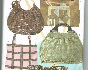 Uncut Sewing Pattern, Simplicity Craft 4338, Knitting Bag, Tote Bag, Purse, Accessories, Patchwork, Wood Handles, Wrights, Hand Bag, handbag