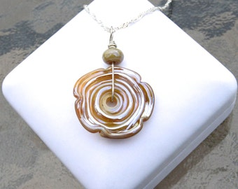 Ceramic Glass Wavy Pendant Silver Necklace