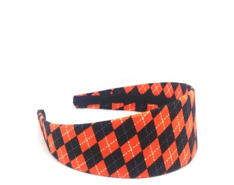 Halloween Headband - Orange and Black Argyle Halloween Headband - Extra Wide Headband, Big Girl Headband, Halloween Headband Adult