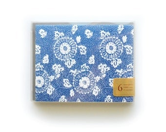 Indigo Letterpress Cards, set of 6