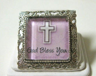 God Bless You convertible brooch/pendant and chain - AP35-014