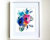 Framed Print - Floral No.9 - Watercolor Painting - White Frame - Flowers - Still Life - Gift for Her - Abstract Art - Illustration - Decor