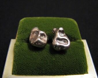 Vintage Solid Sterling Silver Nugget Stud Pierced Earrings