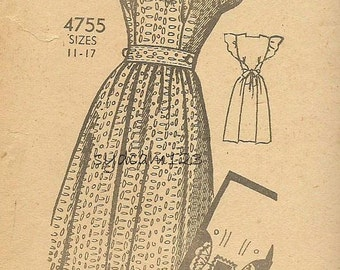 Vintage 1940s Pattern Wraparound Pinafore Dress Ruffled Sleeves Square Neckline Instant Dress Mail Order 4755 Bust 33 UNCUT
