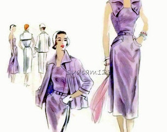 Vintage 1950s Pattern Wiggle Dress Button On Wing Collar and Collarless Jacket 1951 Vogue Couturier 618 Bust 32
