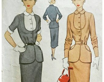 Vintage 1950s Suit Pattern Peter Pan Collar Button Front Peplum Jacket and Slim Skirt 1950 McCall's 8342 Bust 32