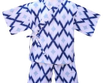 Kimono Jinbei BLUE AZTEC kimono top and shorts set Japanese baby toddler kids girls