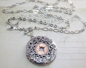 Compass Locket Necklace Silver Compass Jewelry Photo Locket, Locket Compass Necklace charm, Graduation gift