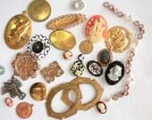 25 Vintage Charms // 50s 60s 70s Brass Stampings // Assorted Sample Pack // Destash // JL111