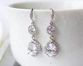 Crystal Cubic Zirconia Wedding Earrings Silver Teardrop C Z Modern Prom