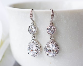 Crystal Cubic Zirconia Wedding Earrings Silver Teardrop C Z Modern Prom