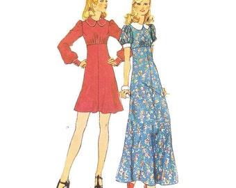 1970s High Waisted Mini Maxi Dress 70s Does 40s Dress Pattern Simplicity 5844 B34 Sz 12