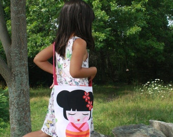 Geisha Doll girls purse- kids over shoulder purse