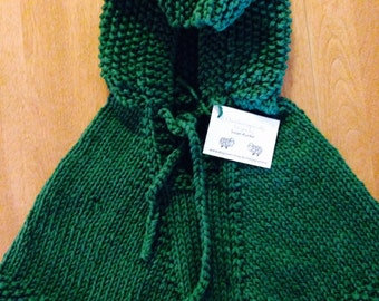 Child Hooded Poncho, Green Poncho Size 12-18 Month, Child Wool Poncho, Poncho Ready To Ship, Poncho Size 12 Months, Poncho Size 18 Months