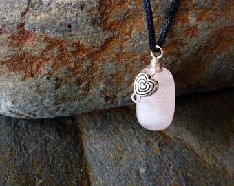 Heart on rose quartz