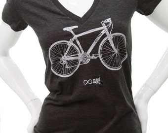 Bicycle| Soft Fitted T Shirt| Slim fit| Infinite MPG| art by MATLEY| Gift for her| Scoop & V-Neck Tees| Bike| Cyclist| Zen.