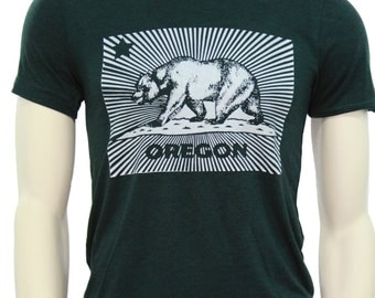 California Bear| Soft Lightweight T Shirt| Oregon| men's unisex tee| Crew & V-neck| hometown tees| Travel tees| California flag.