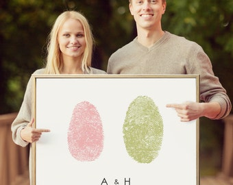 Save the Date Sign, Engagement Signs and Props, Wedding Photo Props, Bride and Groom Fingerprint Personalized Wedding Decor