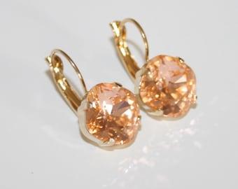 Peach Crystal Earrings Gold, Light Peach Swarovski Rhinestone leverback Earrings, Peach Beach Wedding 12x12 diamond shape - Gift to Her