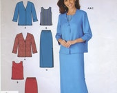 Loose Fitting Jacket, Sleeveless Top, Long Pull On Skirt Sewing Pattern Plus Size 10 12 14 16 18 20 22 Simplicity 4413, Uncut, Above Ankle