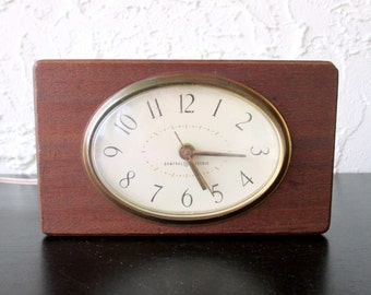 GE General Electric Mid Century Solid Mahogany Wood Vintage Electric Alarm Clock
